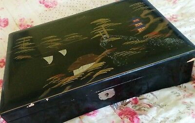 Japanese Vintage Black Lacquer Painted Musical Jewelry Box