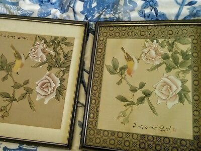 Chinese pair antique silk watercolor paintings birds flora framed glazed