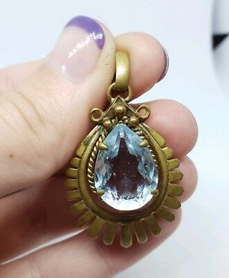 Antique Vintage French France Brass Blue Glass Art Deco starburst pendant