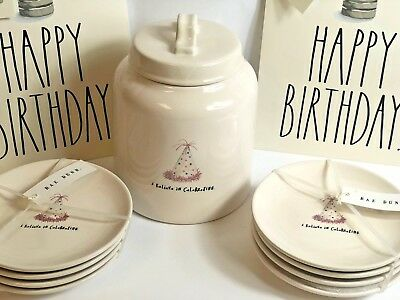 "Rae Dunn BIRTHDAY ""I Believe in Celebrating"" Ceramic Canister & Cake Plates Set"