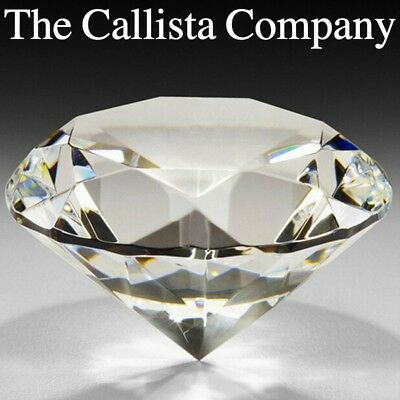 """The Callista Company, Clear Glass Diamond Crystal Paperweight (3.15"""" or 80mm)"""