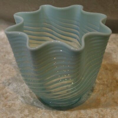 Antique Blue Opalescent Swirl Pattern Fluted Edge Light Shade