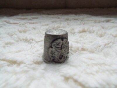 Vintage Pewter Silver Sand Dollar Collectible Sewing Thimble Ocean Theme
