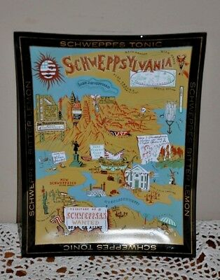 Vintage Schweppsylvania Schweppes Advertising Glass Tray Dish Map