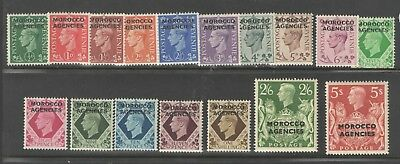 GB Morocco Agencies 1949 Sc 246-62 SG 77-93 KGVI Definitives Cplt VF UMM MNH
