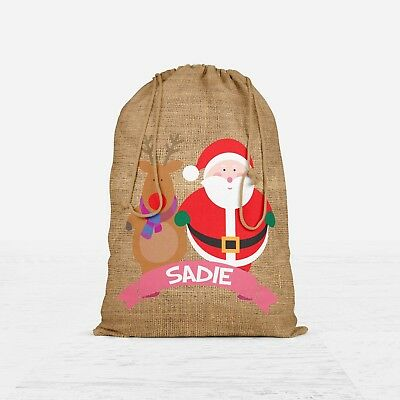 Personalised Santa Sack Hessian Stocking Present Christmas Gift Bag Girls #XSB4
