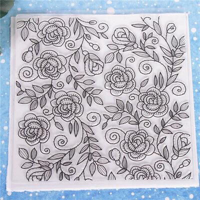 Flower Leaves Graffiti Transparent Clear Silicone Stamp Seal DIY Scrapbooking