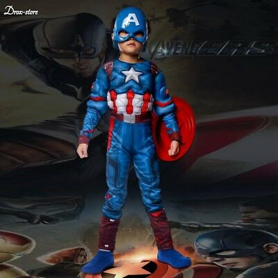 Kids Captain America Costume Avengers Child Cosplay Super Hero Halloween Boys