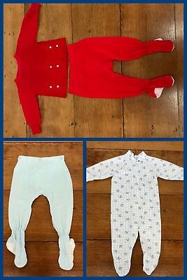 1960s Pajamas Footed Baby Red Blue Airplane Snaps Long Sleeve 6 Months LOT OF 4