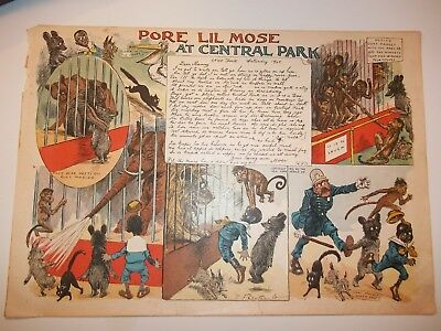"1901 PORE LIL MOSE ""At CENTRAL PARK"" Zoo Bear COMIC LETTER TO MAMMY R.F.Outcault"