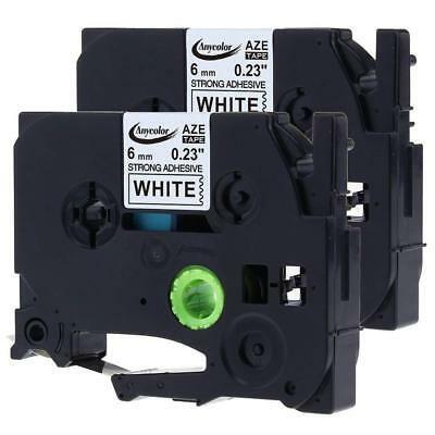 2PK Compatible Brother P-Touch Laminated TZe S211 Label Tape 6mm Black on White