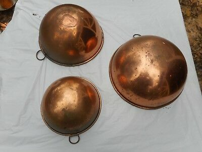 "Vintage Lot of 3 Pre-Owned Revere Ware Korea Copper Mixing Bowls 12"" 10"" 8"""