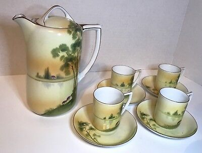 Antique Nippon Chocolate Pot Set Hand Painted Porcelain Country Scene Rising Sun