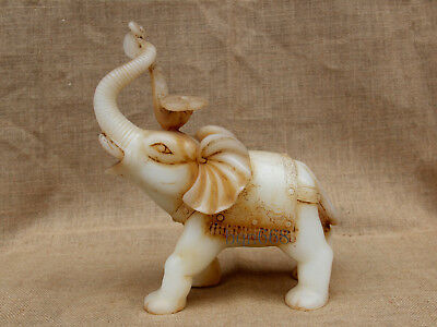 "10"" China Handcarved old antique white jade ruyi Elephant statue"