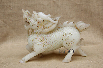 "8"" China Handcarved old antique white jade kylin Unicorn statue"