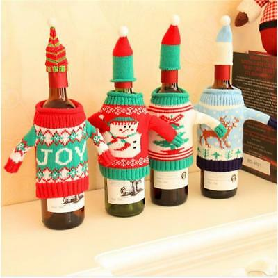 Christmas Xmas Party Sweater+Lid Hat Wine Bottle Cover Wrap Bag Set Decor MA
