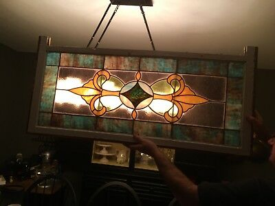 Antique Leaded Stained Glass Window ~ 16 X 40~ Farm House Country