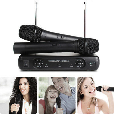 Professional Wireless Microphone Dual Channel Handheld VHF System 2 Cordless Mic