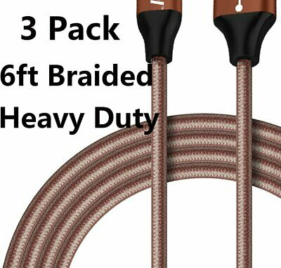 3 Pack 6ft Cable Heavy Duty For iPhone 8 7 6 6s Plus Charger Charging Cord Cable