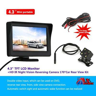 "4.3"" Car Rear View Parking Kit+Foldable LCD Monitor Wireless IR Reversing Camera"