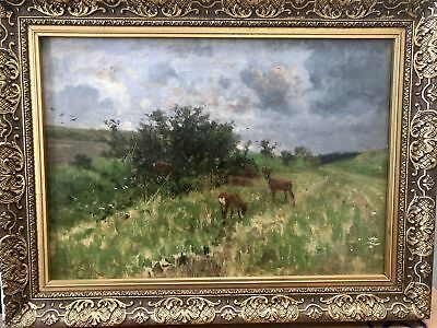 """Herman Hartwich """"Deer In Field"""" Original Signed Oil Painting Sales Up to $60,000"""