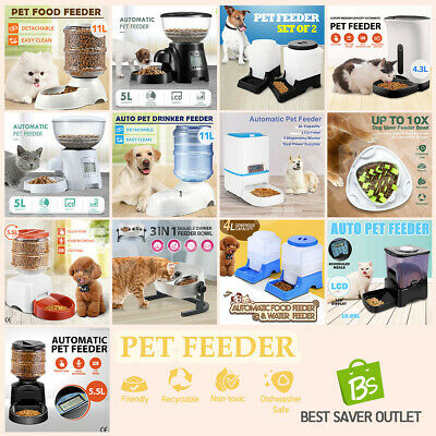 Pet Feeder Dispenser Waterer Dog Cat Self Feeding Food Water Bowl Automatic