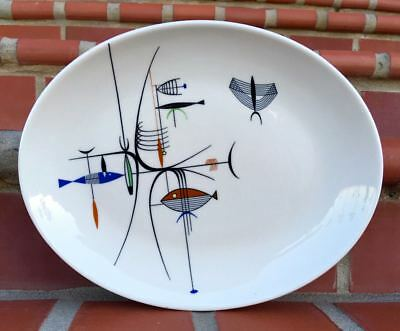 PERFECT!! Colorful Shenango China Well of The Sea Platter HIPSTER FISH
