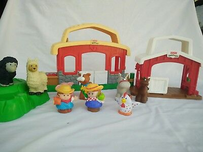 Fisher Price Little People Farm Play Set Barn Stable Horse Cow Chicken Farmers
