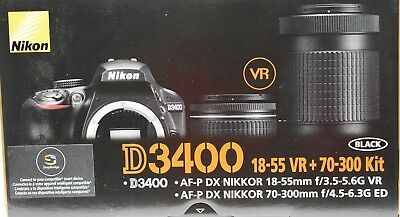 NEW Nikon D3400 DSLR Camera - Black (Kit w/ 18-55mm and 70-300 lenses)