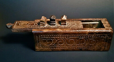 Carved Wooden Spice Box Antique Indian Primitive Hardwood Asia