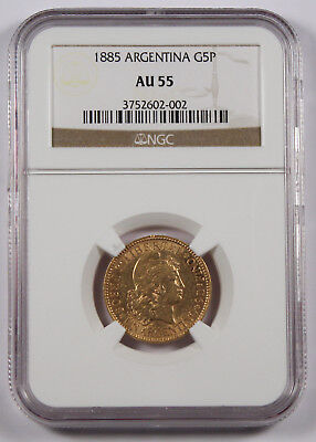 Argentina 1885 5 Peso Gold Coin NGC AU55 KM#31 0.2334 Oz AGW About Uncirculated