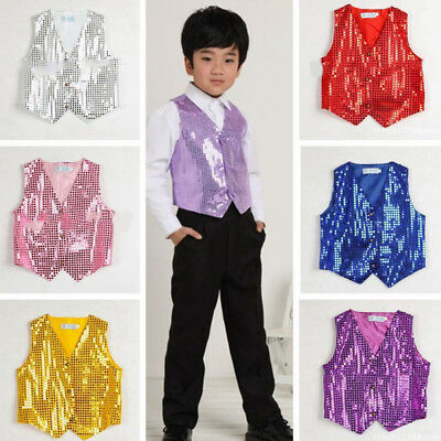 Kids Children Sequined Waistcoat Vest Party Show Costume Outfit Modern Dancewear