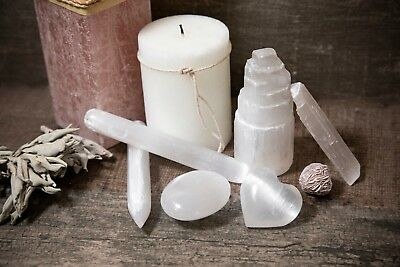 Selenite Kit - Tower, Wands, Desert Rose, Palm Stone, Heart, Charging Station