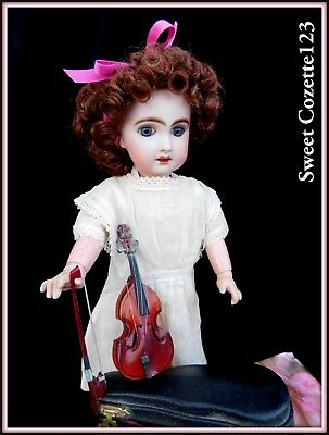 Vintage Doll Cello with Case Bow & Pin Miniature Dolls Display