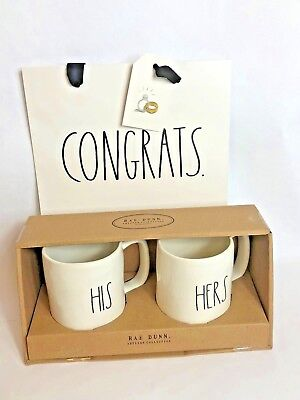 "Rae Dunn LL ""HIS"" and ""HERS"" Ivory Black Letters Mug Boxed NEW Wedding Gift Set"