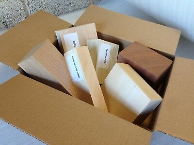 Wood Carving Blanks Gift Selection Boxes Mixed Sizes and Species Lime Utile Oak