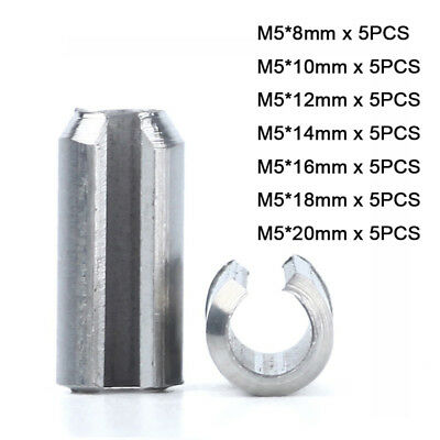 35Pcs M5 Spring Pins Split Tension Roll Pin Kit- A2 304 Stainless | L8~20mm