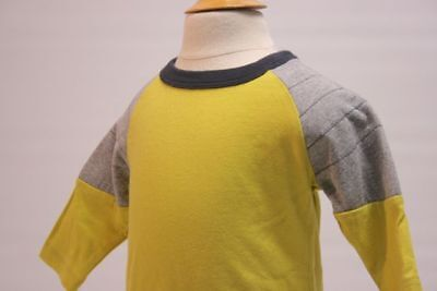 TEA NWT Boys 100% Cotton L/S Baseball T-shirt Laser Lemon/Gray Sz 3-6 mo