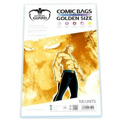 Ultimate Guard Golden Age Resealable Comic Bags Sleeves 100ct Size 197 x 268mm