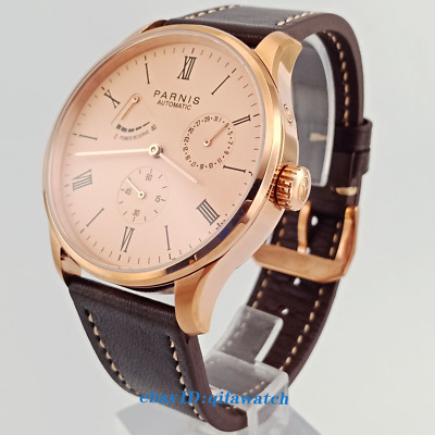 42mm Parnis Date Rose Gold Case Power Reserve Seagull 1780 Automatic Watch 2574