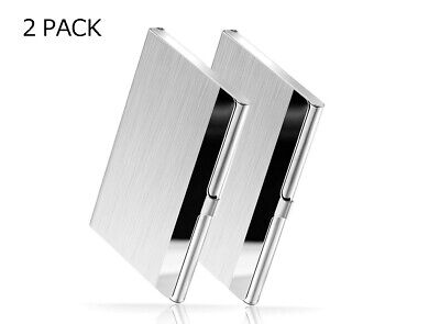 2 Pack Stainless Steel Card Holder Name Card Business Case Credit Wallet Silver