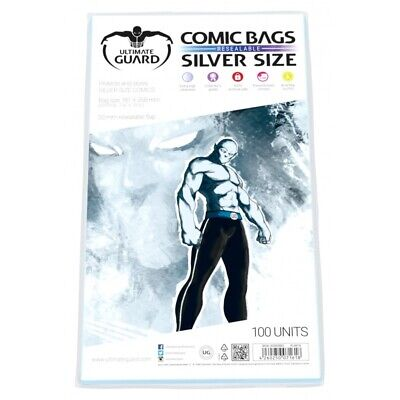 Ultimate Guard SILVER AGE RESEALABLE Comic Bags Sleeves 100ct Size 181 x 268mm