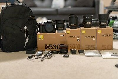 Nikon D D5300 24.2MP Digital SLR Camera w/4 Nikkor Lenses, 3 Batt, a Bag, & more