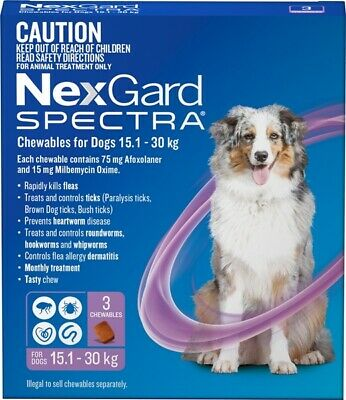 Nexgard Spectra for dogs 15-30kg Purple pack of 3 Large dogs