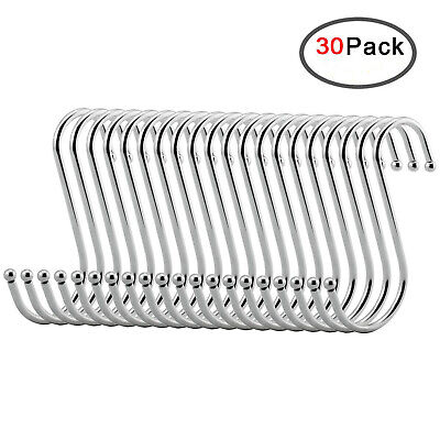 30 Pack Stainless Steel Metal S Shaped Hooks for Kitchen Bedroom Bathroom Office