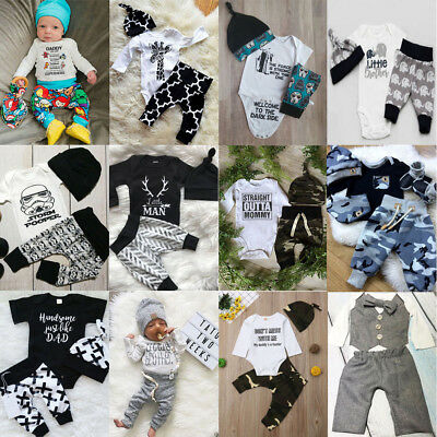 AU Newborn Baby Boys Cotton Tops Romper Jumpsuit Pants Hat Outfits Clothes Set