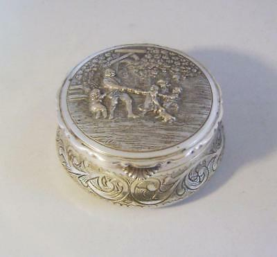 Silver Plated Table Snuff Box or Tobacco Tin: Repousse scene on Lid : Hinge A/F