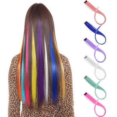 5pcs Clip On in Colorful Hair Extension Synthetic Straight Long Hair Party Clips