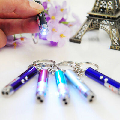 3-in-1 LED Laser Lazer Pen Pointer Keychain Keyring With torch Light Dog Toy New