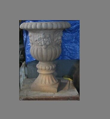 2 Large Concrete Planters,Estate Royal Urn Planters.Fancy Cement.140lbs ea.06811